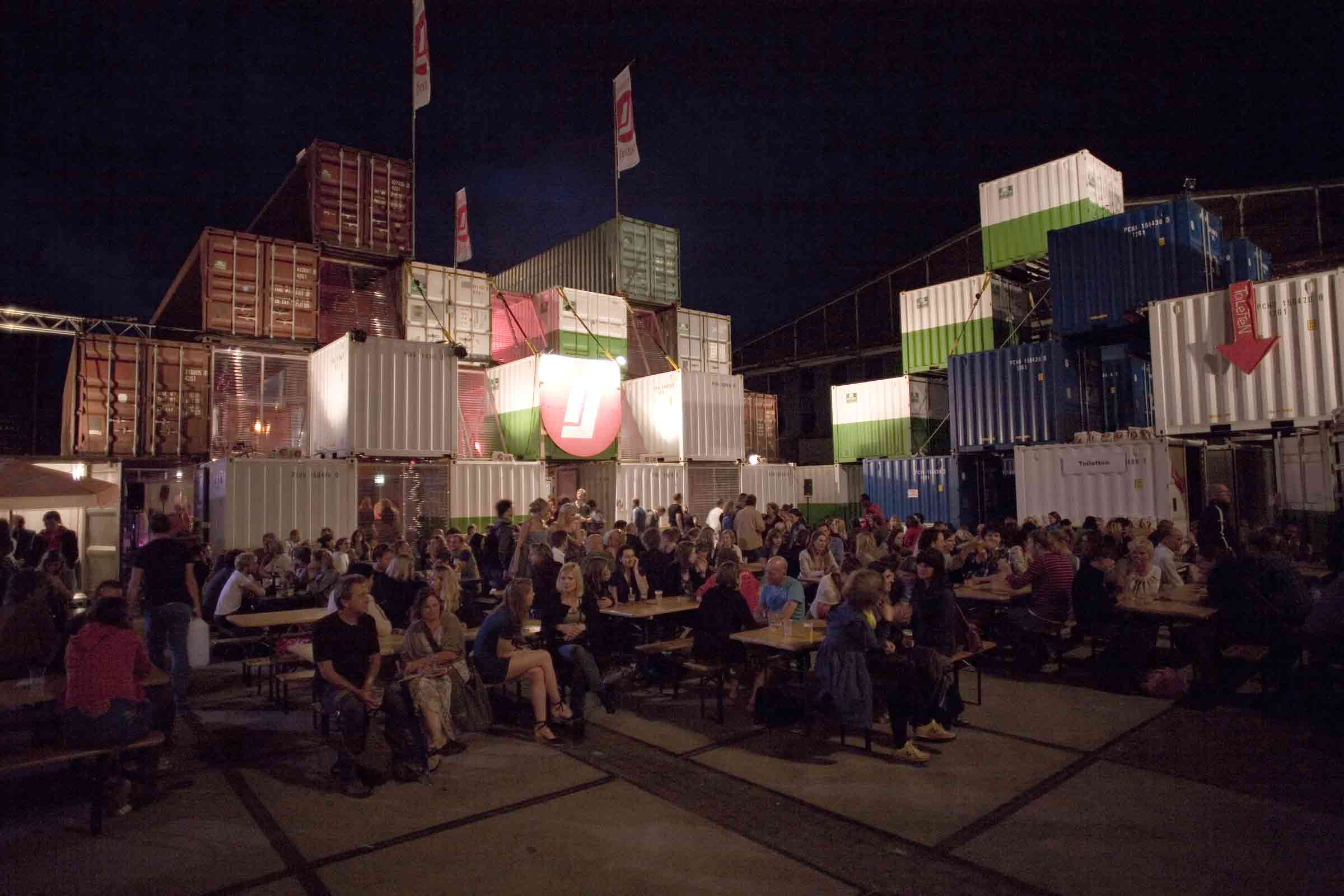 BETA office for architecture and the city Amsterdam NDSM temporary shipping container city night view