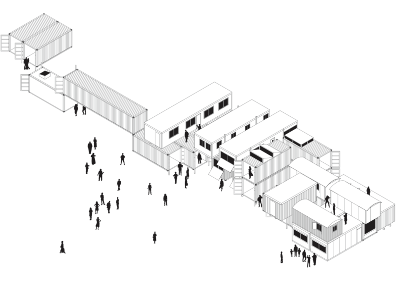 isometric drawing of Treehosue NDSM with stacked containers and shacks