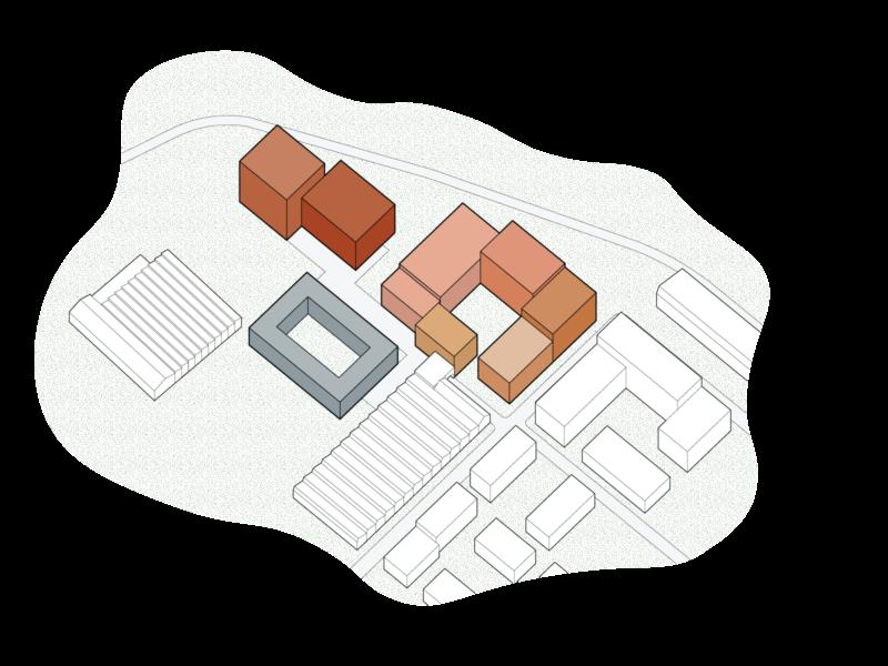 axonometric line drawing of urban scheme