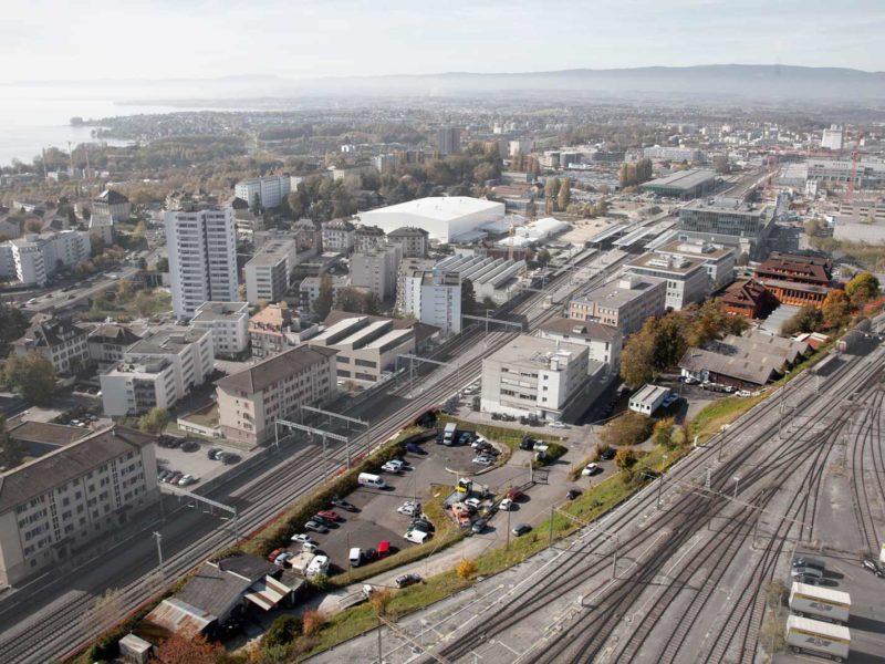 aerial photo of La Manufacture Lausanne by Julien Barras