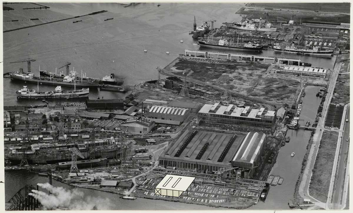 photomontage showing position of Boat Hangar in historic photo of the NDSM shipyard