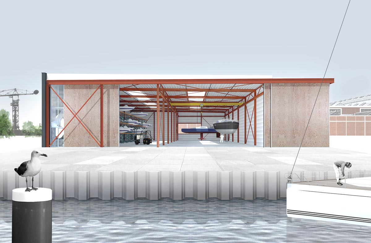 design collage with hangar doors open showing interior with boats