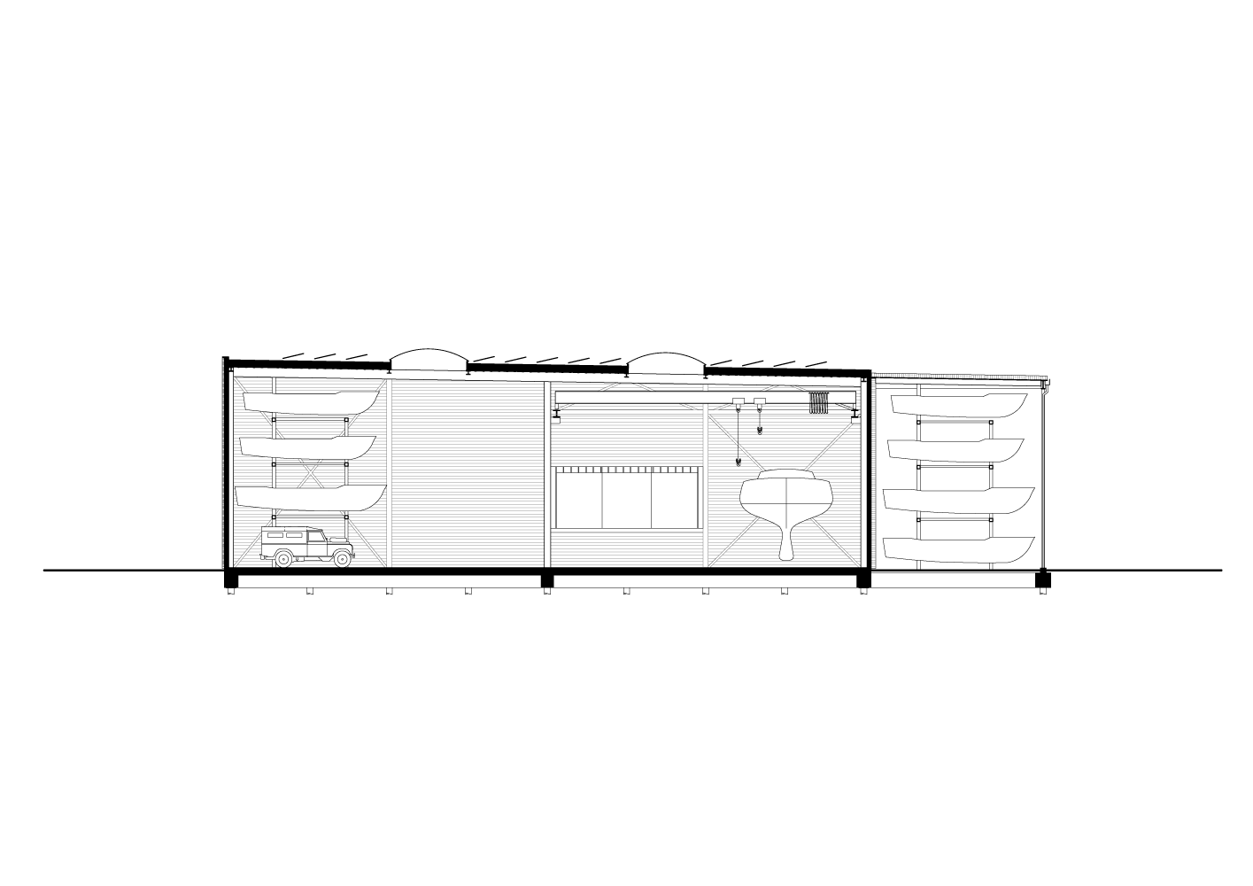 cross section drawing of Boat Hangar project by BETA architects Evert Klinkenberg Auguste Gus van Oppen