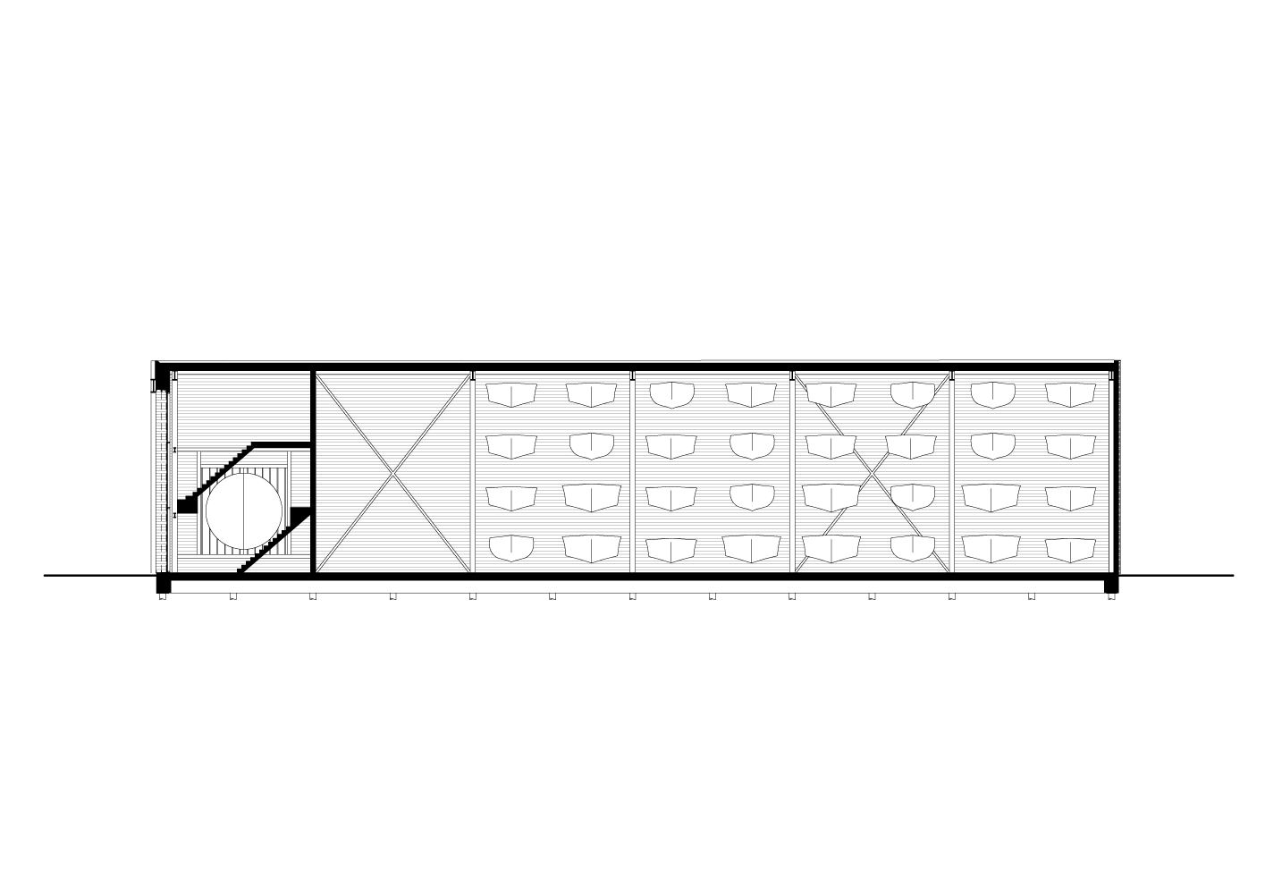 longitudinal section drawing of Boat Hangar project by BETA office for architecture and the city