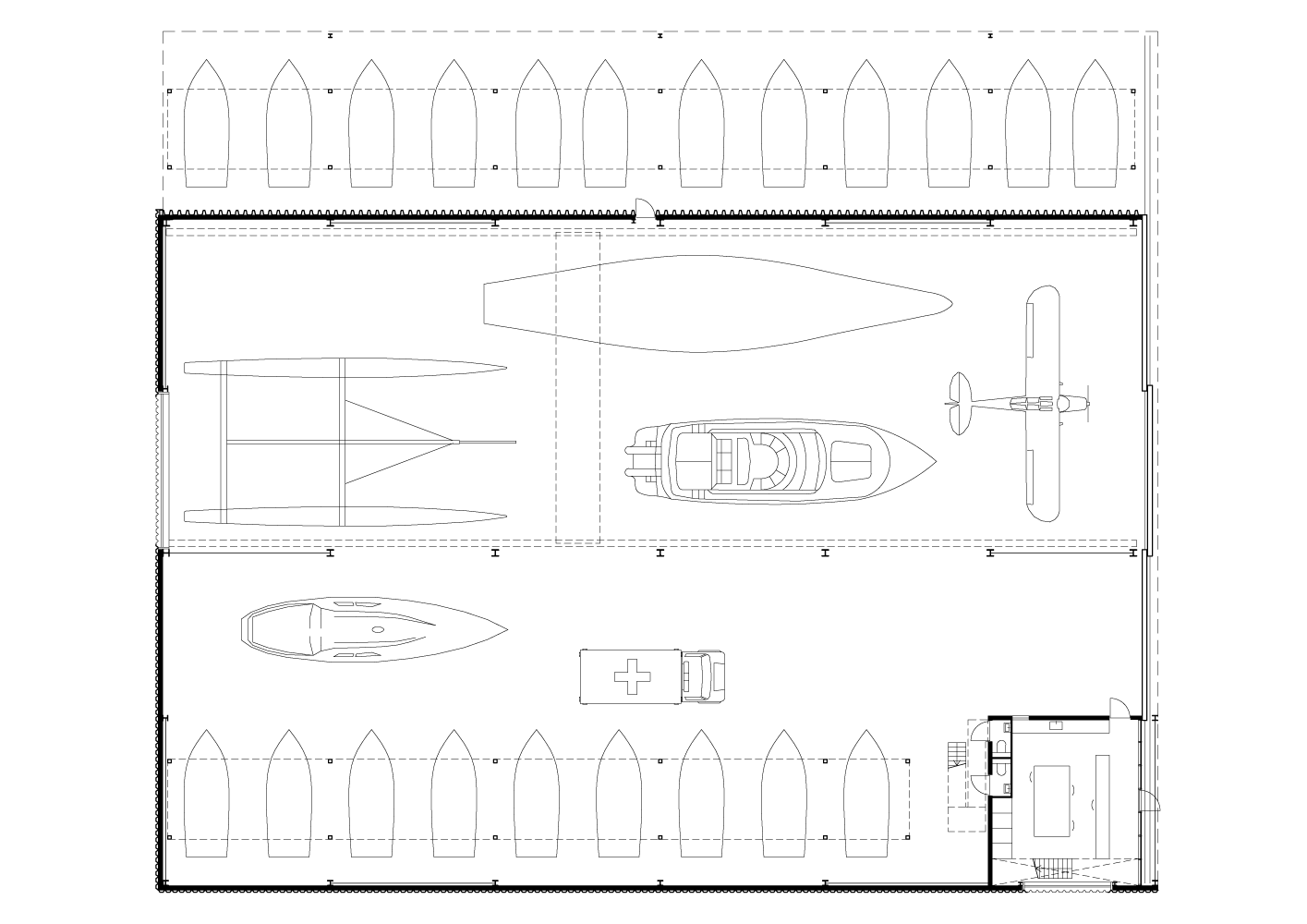 plan drawing of Boat Hangar project by BETA architects Evert Klinkenberg Auguste Gus van Oppen