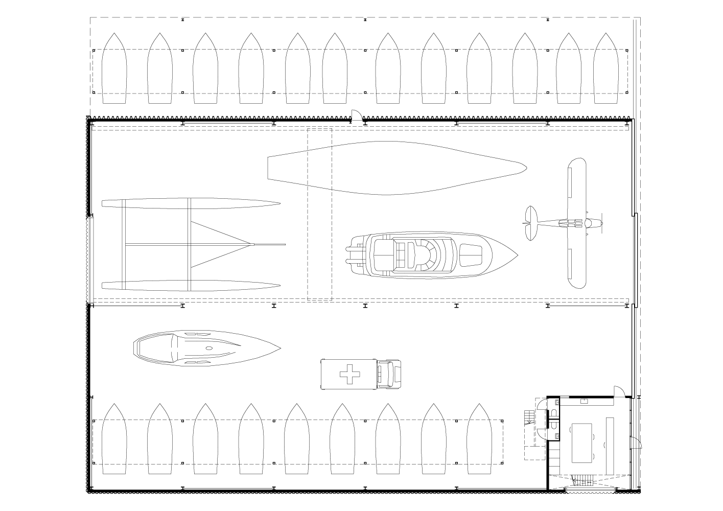 plan drawing of Boat Hangar project by BETA office for architecture and the city