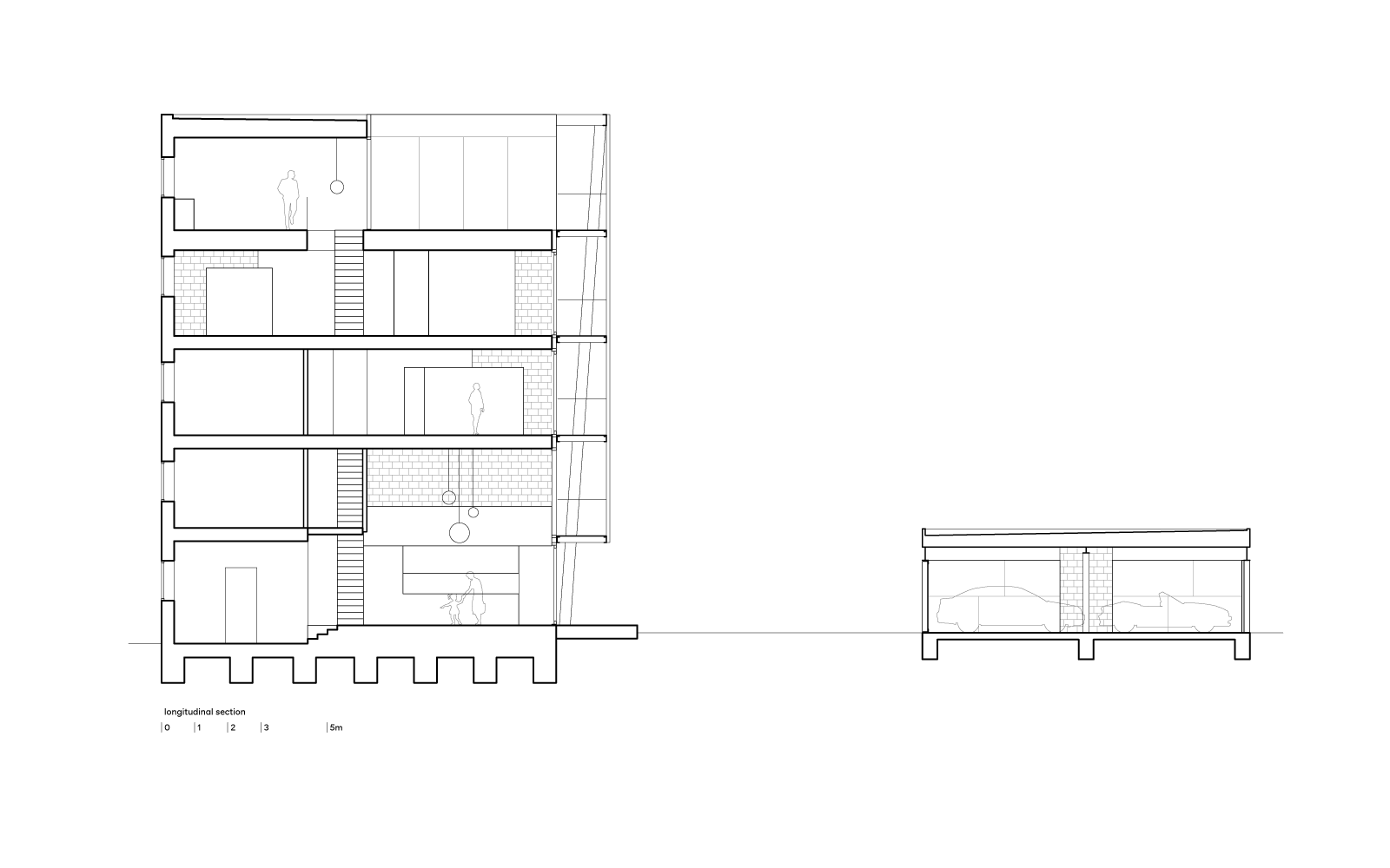 three generation house by BETA longitudinal section drawing