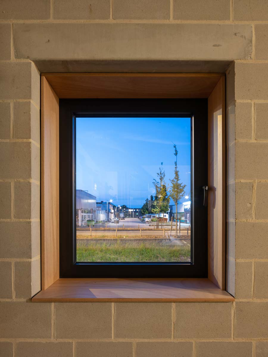 three generation house by BETA photo interior window detail with concrete lintel masonry by Ossip