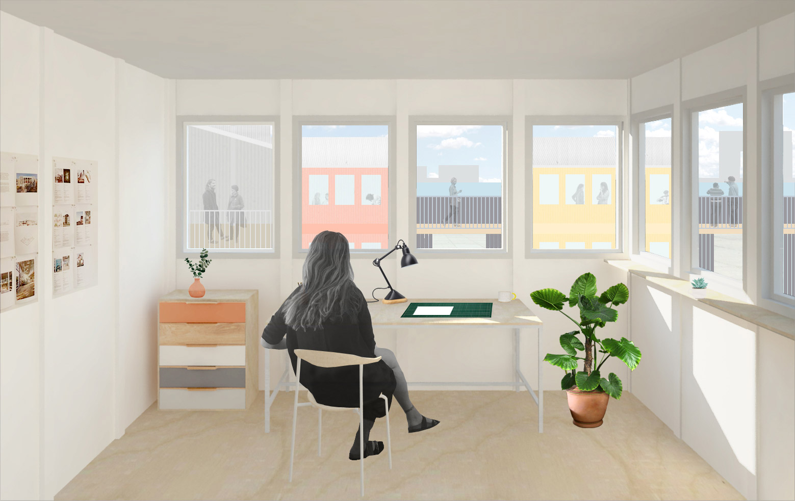 collage of the interior of a studio at Treehouse NDSM showing a woman sitting behind a desk drawing by BETA architects Evert Klinkenberg Auguste Gus van Oppen