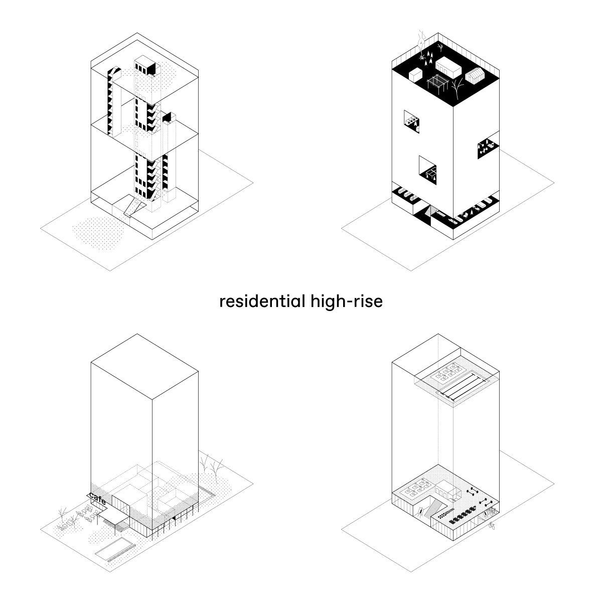 BETA office for architecture and the city Amsterdam Active Design high rise isometric