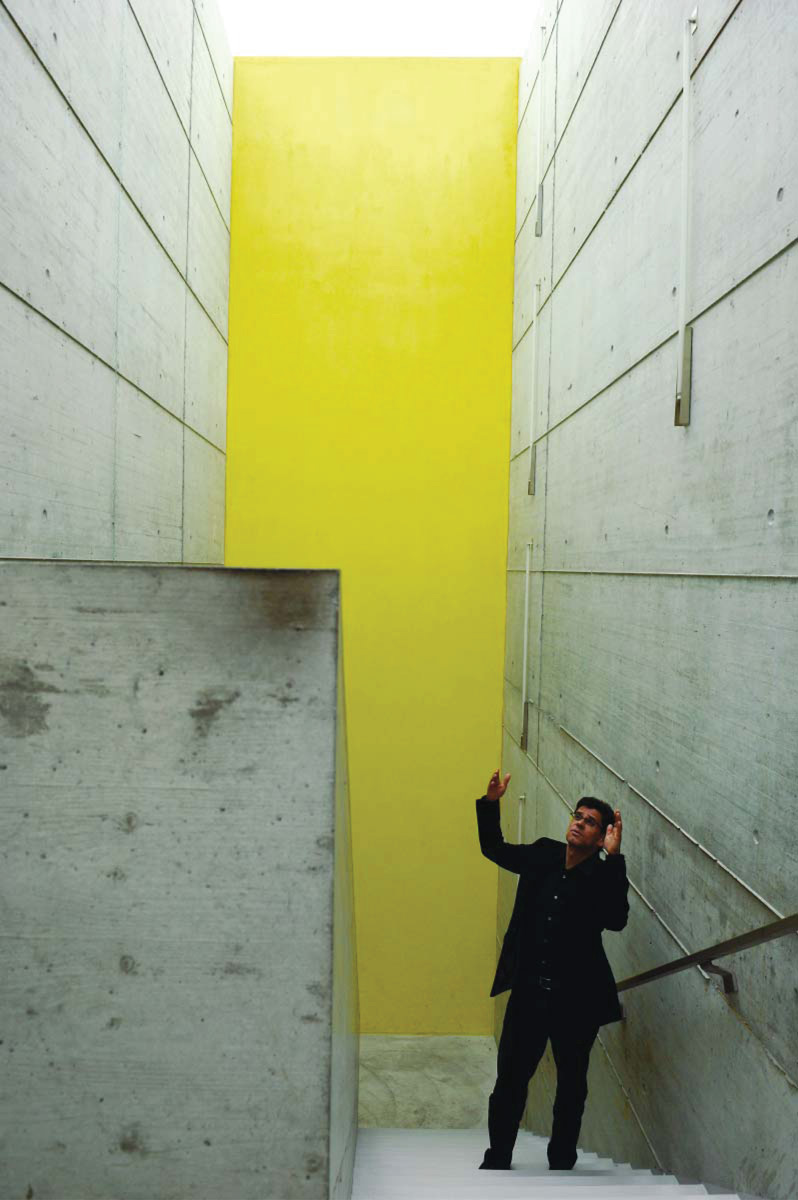 interior photo of a sober stairwell with a yellow wall