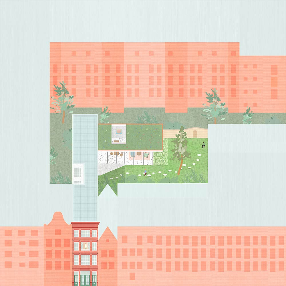 courtyard collage parallel projection of Hidden Townhouse development in Amsterdam Jordaan district by BETA