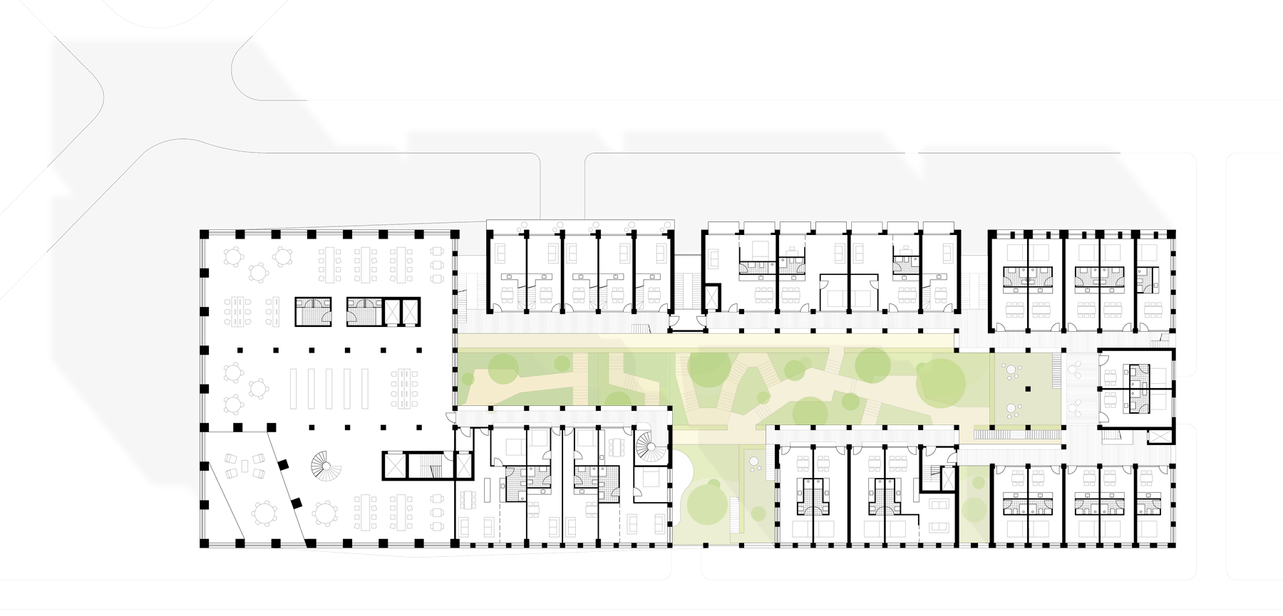 fourth floor plan of Kop Zuidas project by BETA architects space&matter Evert Klinkenberg Auguste Gus van Oppen