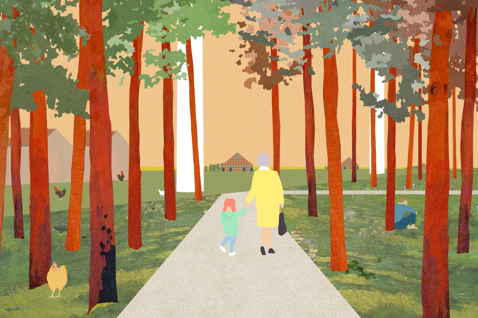 collage with elderly woman and child walking on a path in the forest fringe of Nagele image by BETA architects Evert Klinkenberg Auguste Gus van Oppen
