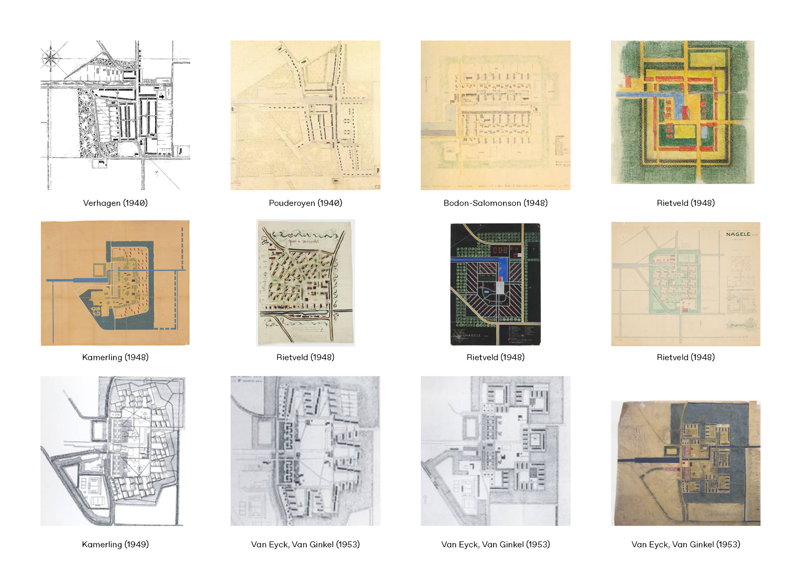 12 design iterations through the years for the village of Nagele by the likes of Rietveld, Kamerling and Van Eyck
