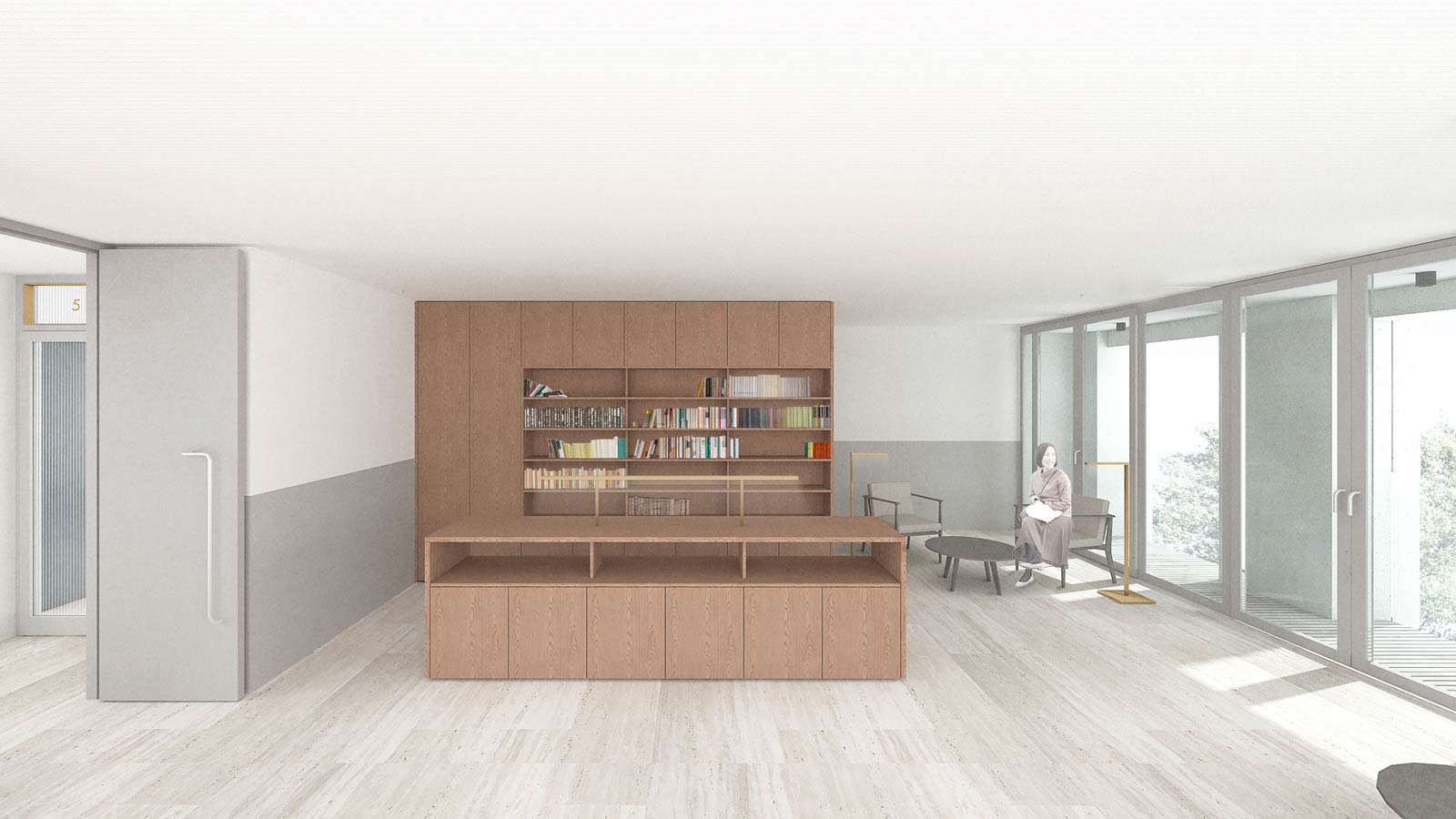collective lobby on the fifth floor with library of Werkspoor op Oostenburg project by BETA architects Amsterdam