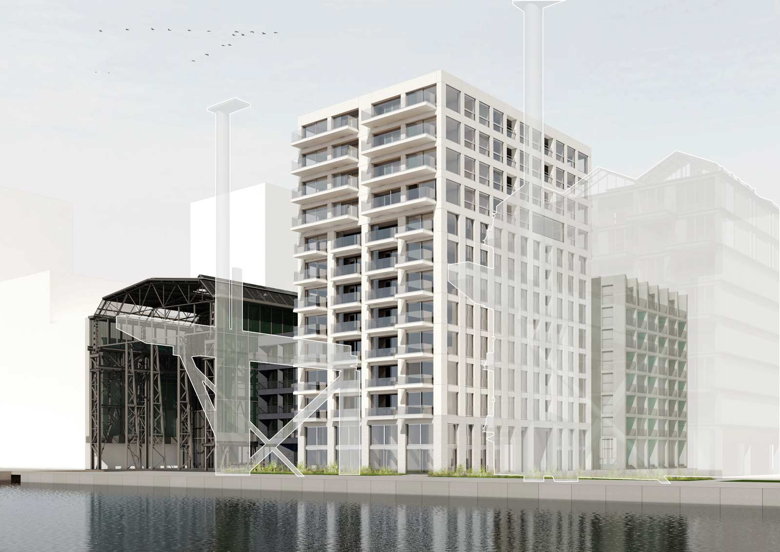 perspective render of residential tower and Werkspoorhal of Werkspoor op Oostenburg project by BETA architects Amsterdam