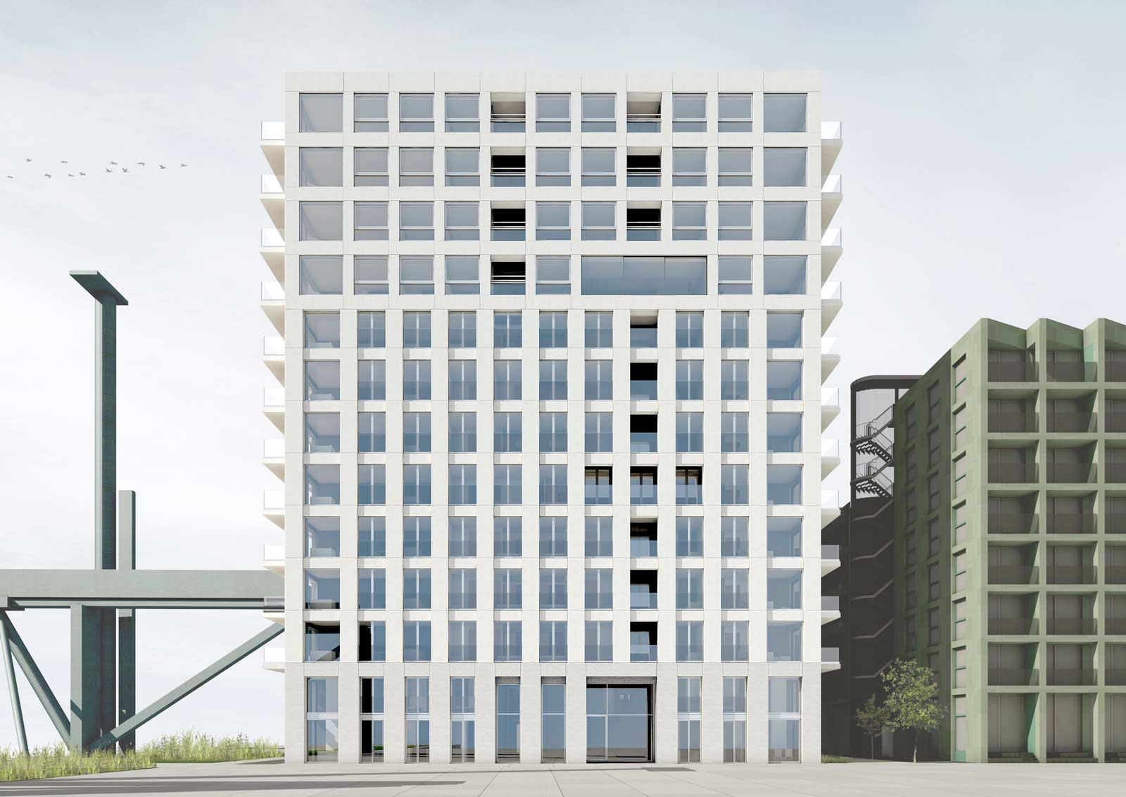 side facade render of residential tower of Werkspoor op Oostenburg project by BETA architects Amsterdam