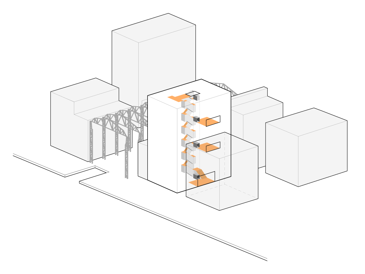 axonometric scheme of Oostenburg apartment block showing active design access system by beta architect amsterdam Evert Klinkenberg Auguste Gus van Oppen