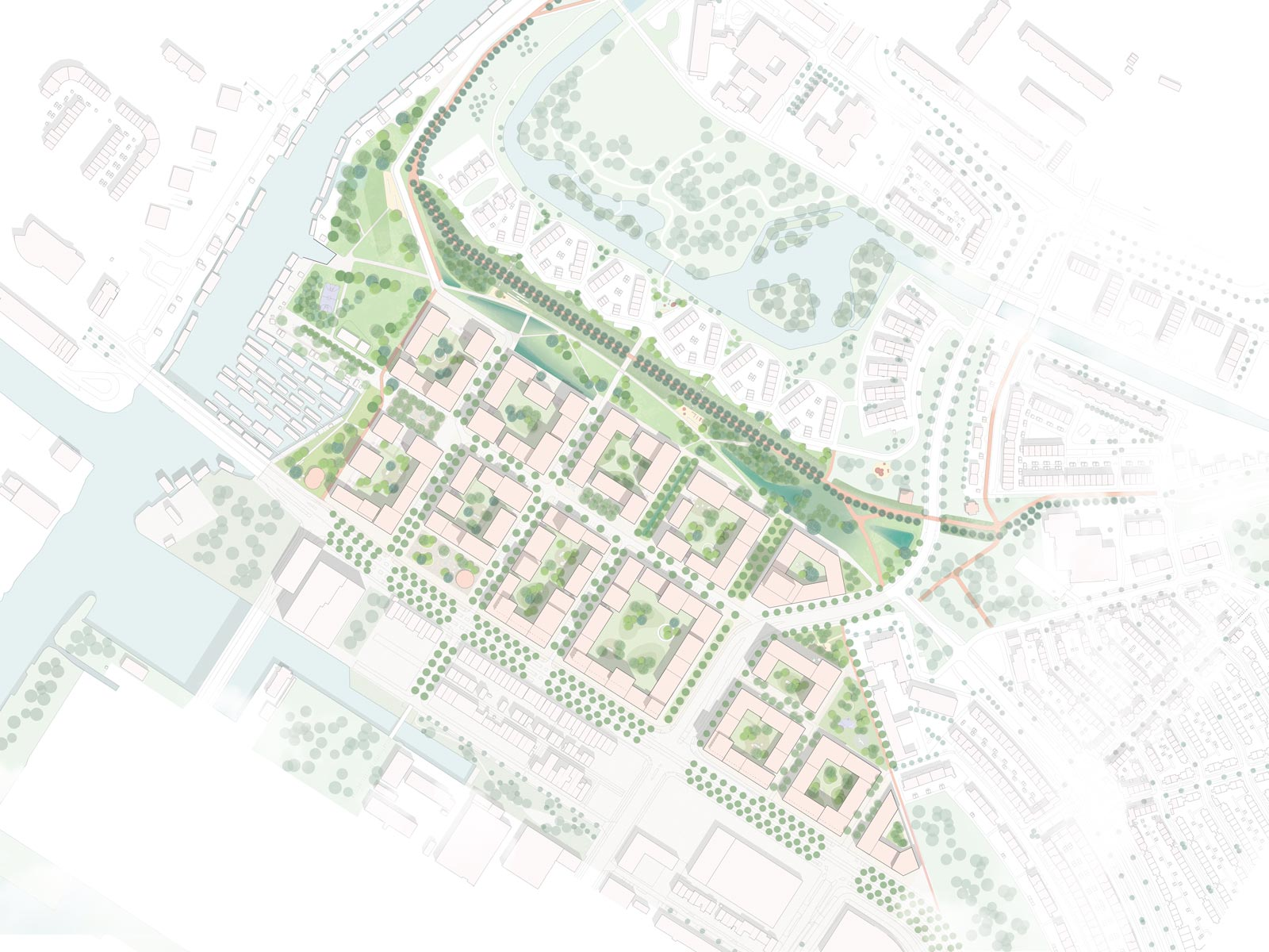 2d plan view of project Klaprozenbuurt masterplan by BETA architect Amsterdam