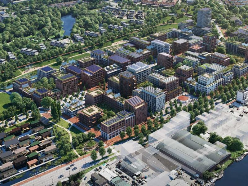 aerial view from Soutwest showing new situation of Klaprozenbuurt by BETA architect Amsterdam